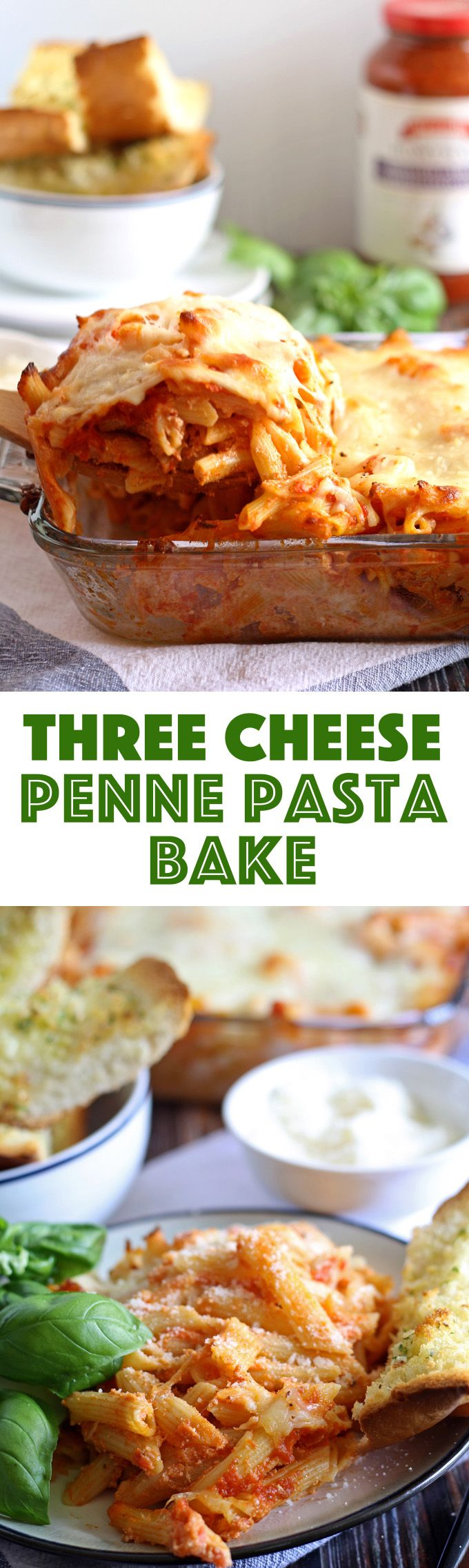 This three cheese penne pasta bake is perfect for family meals! Get dinner on the table quickly and serve with a side salad and garlic bread. | honeyandbirch.com  https://ooh.li/1894378 #sponsored #FallForFlavor