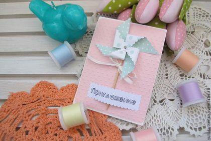 """Пригласительные ручной работы. Ярмарка Мастеров - ручная работа. Купить Приглашение на крестины или день рождения """"Вертушка"""" девочке. Handmade."""