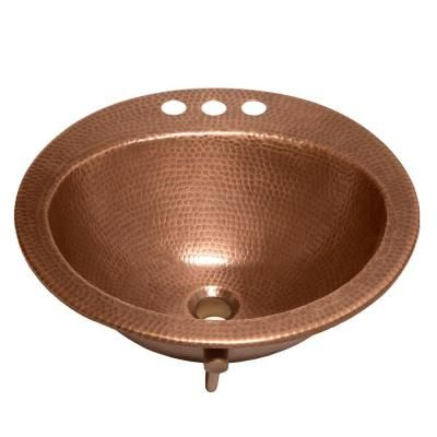 SINKOLOGY Bell Drop-In Handmade Copper Bathroom Sink with 4 in. Faucet Holes and Overflow in Antique Copper-SB101-19AC - The Home Depot