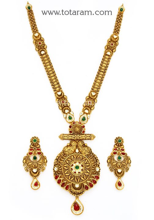 22K Gold Long Antique Necklace & Ear Hangings Set with Stones