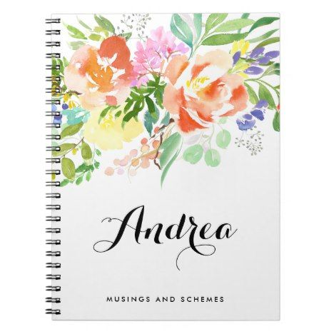 Feminine Watercolor Peach Peonies Personalized Notebook Do you write down your thoughts and ideas in a journal? Well check out this one and personalize it with your own information. Have a journal that no one else has. #notepad #paper #papergoods #journal #journaling