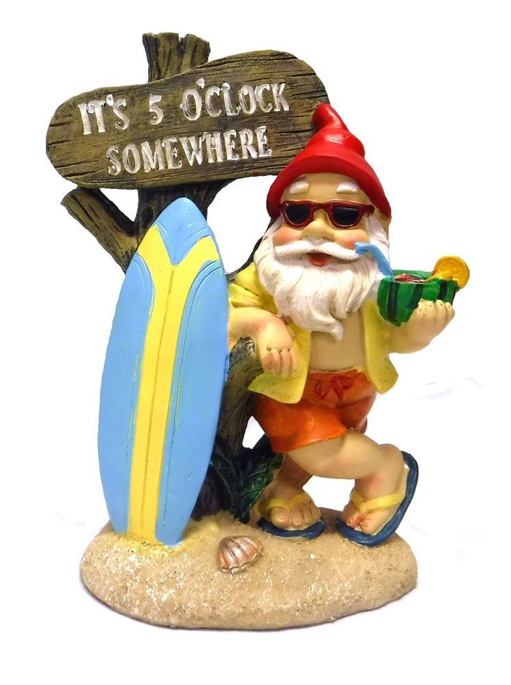 Amazon.com : 5:00 Somewhere Tropical Party Gnome Garden Statue : Patio,
