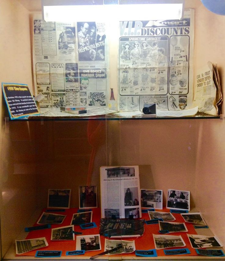 Library Display: Celebrating 40 Years of being open. Featuring school memorabilia from 1975.