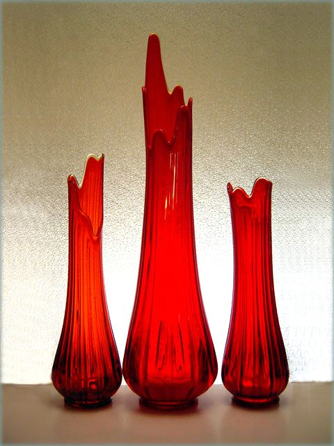 Giant Vintage Red Glass Floor Vase