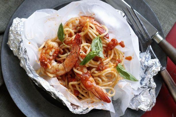 Valli Little's spaghetti & prawn parcels make a perfect main for an Italian inspired feast.