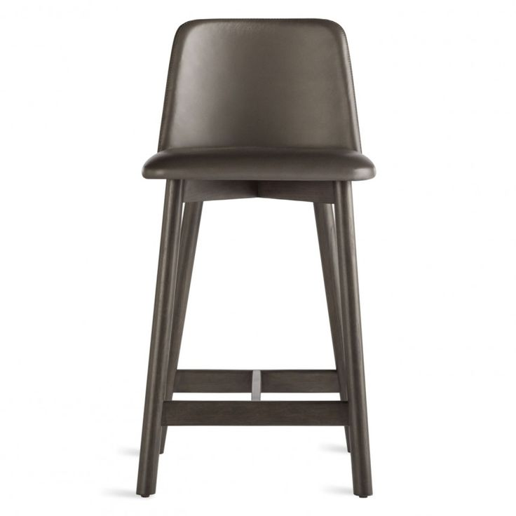 Modern Brown Leather Counter Stool with Back