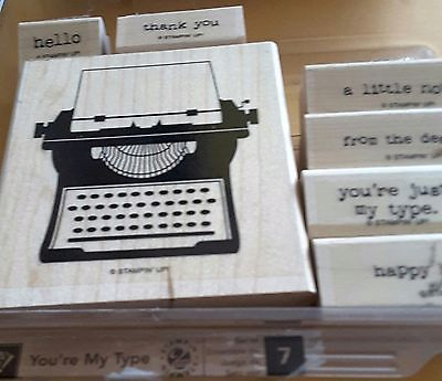 Stampin' Up *YOUR MY  TYPE* 7 pc Mounted Rubber Stamp Set. Retired.