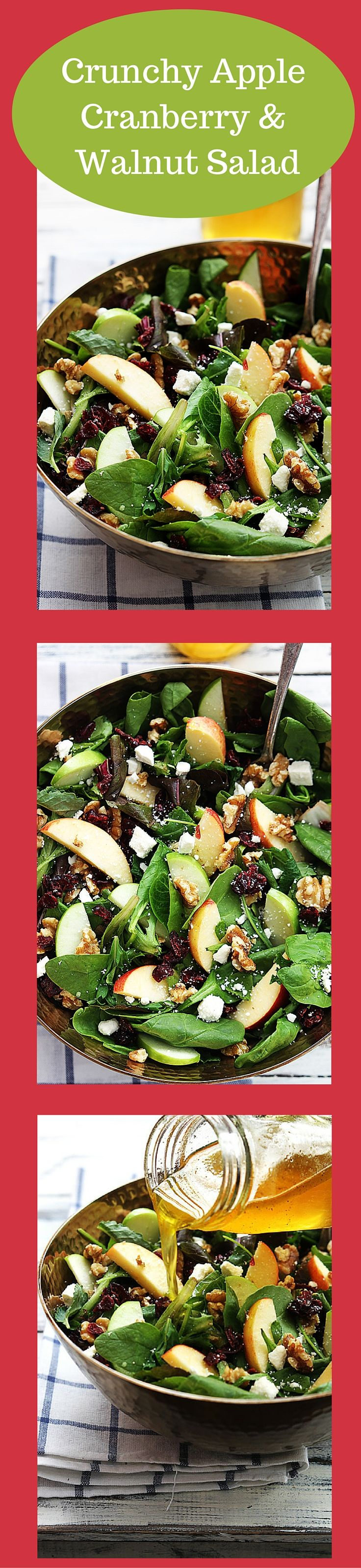 This crunchy apple cranberry and walnut salad recipe is perfect for Fall!