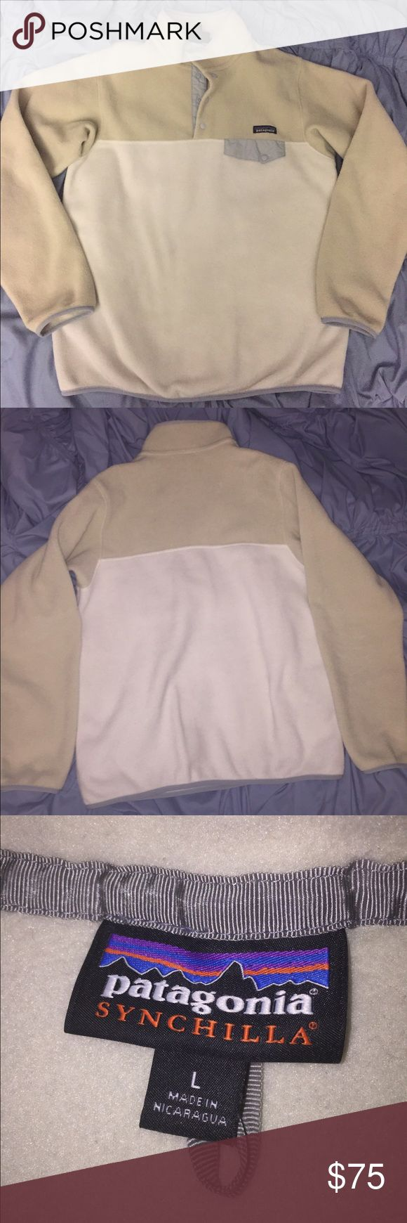BARELY WORN Patagonia Synchilla Jacket size L Fleece Patagonia Synchilla Jacket size L. I love this pullover it's just too big on me. I probably only wore it 3-4 times. Very warm and cute and matches near everything! Patagonia Jackets & Coats