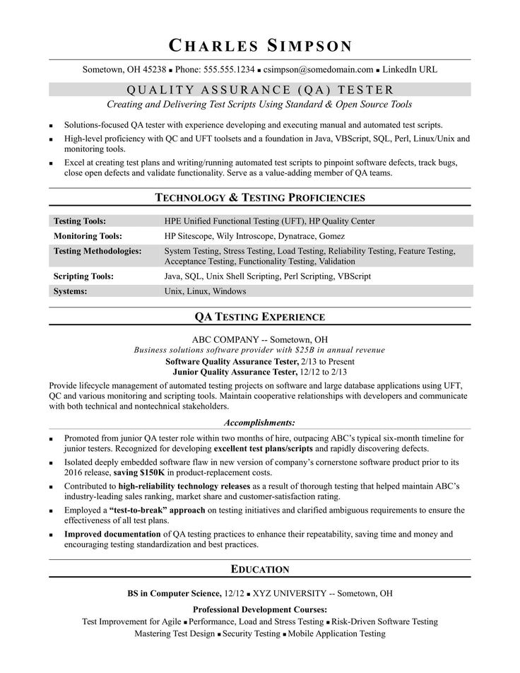 sample resume qa software tester midlevel Resume