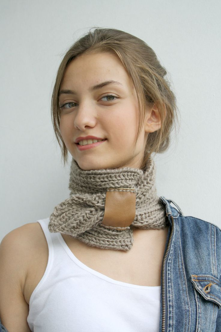 Hand Knit Milky Brown Mohair Brown Scarf With Leather Bridge / Knitted Collar / Neckwarmer Fall Fashion Knit Accessories | Knit fashion, Brown scarves, Neck warmer