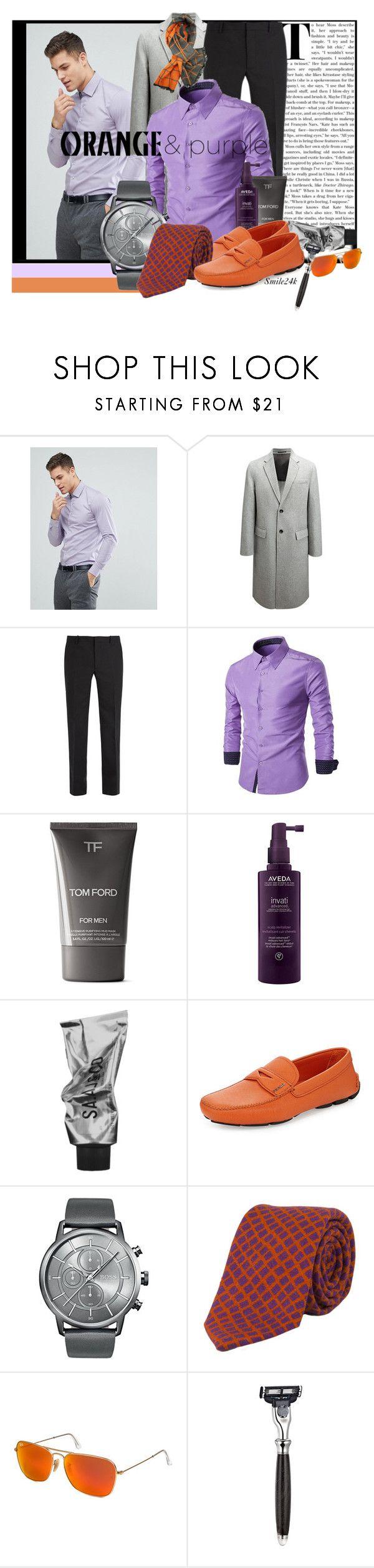 """Orange & Purple"" by smile24k ❤ liked on Polyvore featuring Calvin Klein, Joseph, Balenciaga, Tom Ford, Aveda, Prada, BOSS Hugo Boss, 40 Colori, Ray-Ban and The Art of Shaving"