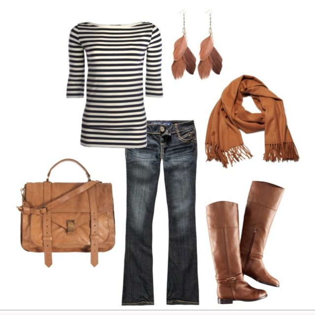 navy/white striped shirt with the tan boots