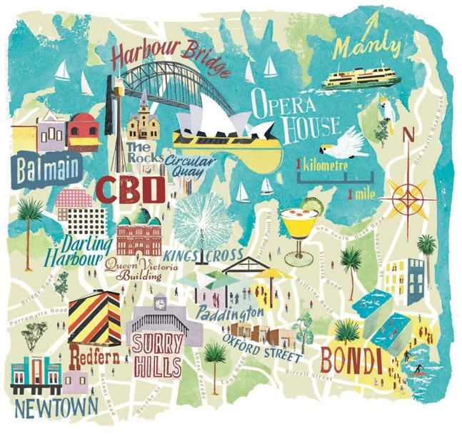 Anna Simmons Map Of Sydney For National Geographic