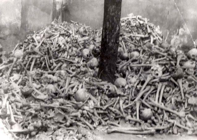 Auschwitz, Poland, 1945, A pile of human bones, after the liberation.