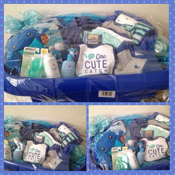 "Blue ""cute catch"" baby boy gift basket w/tub"