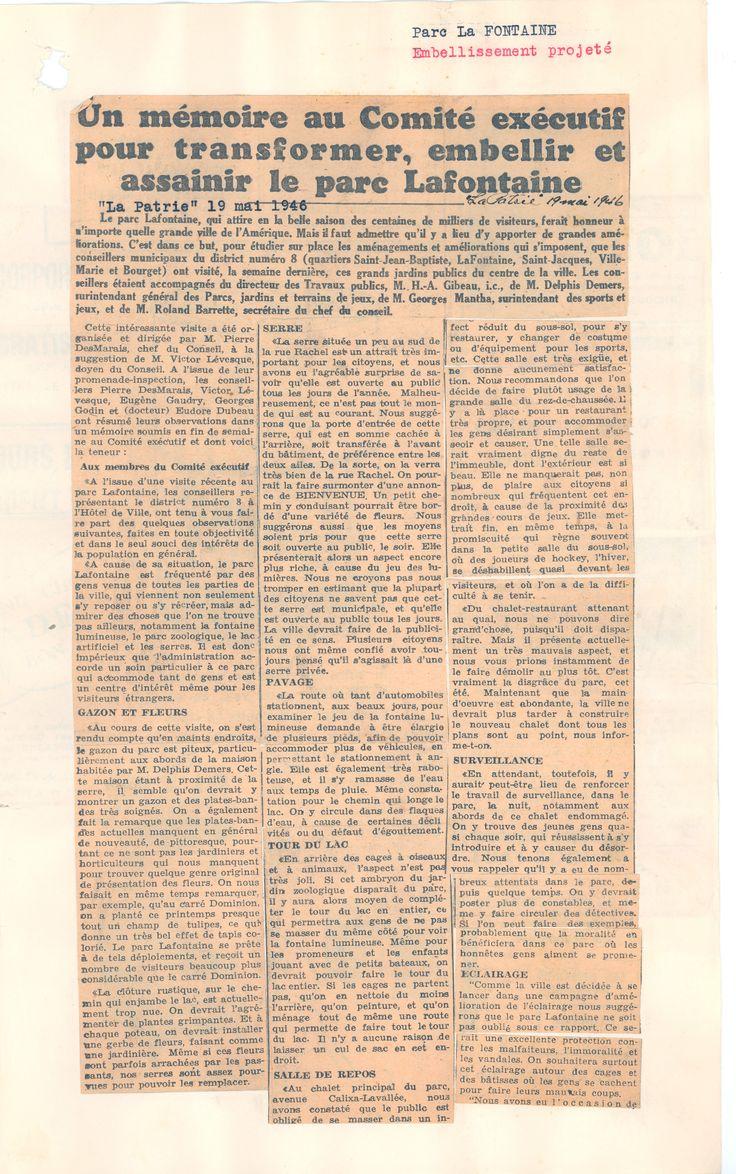 """Article du journal """"La Patrie"""" du 19 mai 1946. SOURCE: Archives de la Ville de Montréal;  code: VM6-S10-D1901-38-A"""