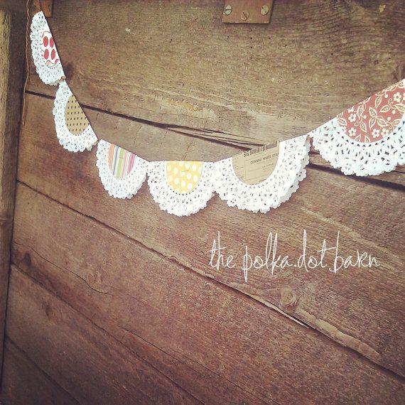 the polka dot barn doily bunting