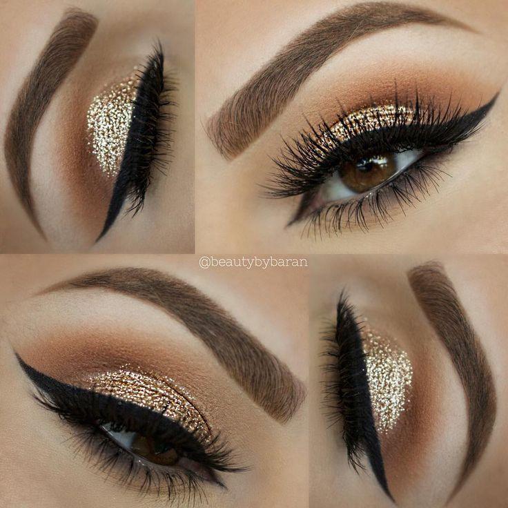 """⠀⠀⠀✨☃ ⠀⠀⠀⠀⠀⠀⠀⠀⠀⠀Holiday glitter makeup __________________________________ •EYEBROWS/ KASLAR ""Caramel"" brow wiz @anastasiabeverlyhills •EYESHADOWS/…"""