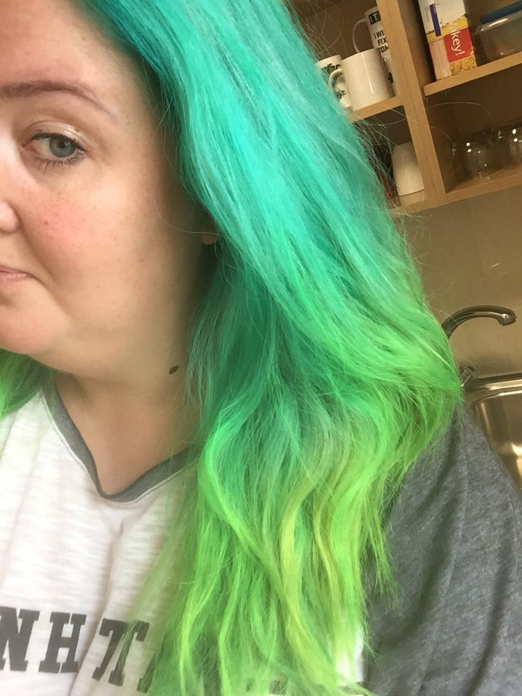 Mermaid hair!!  Manic Panic Siren's Song & Electric Lizard. Cream formula mad it really easy to use and it didn't stain my neck or my hands etc.