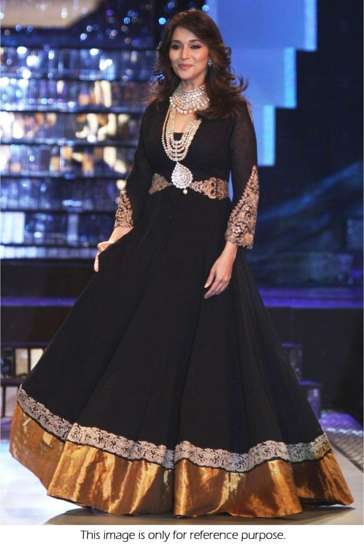 Buy Bollywood Style Madhuri Dixit Georgette Suit in Black Colour #bollywood #beauty #fashion