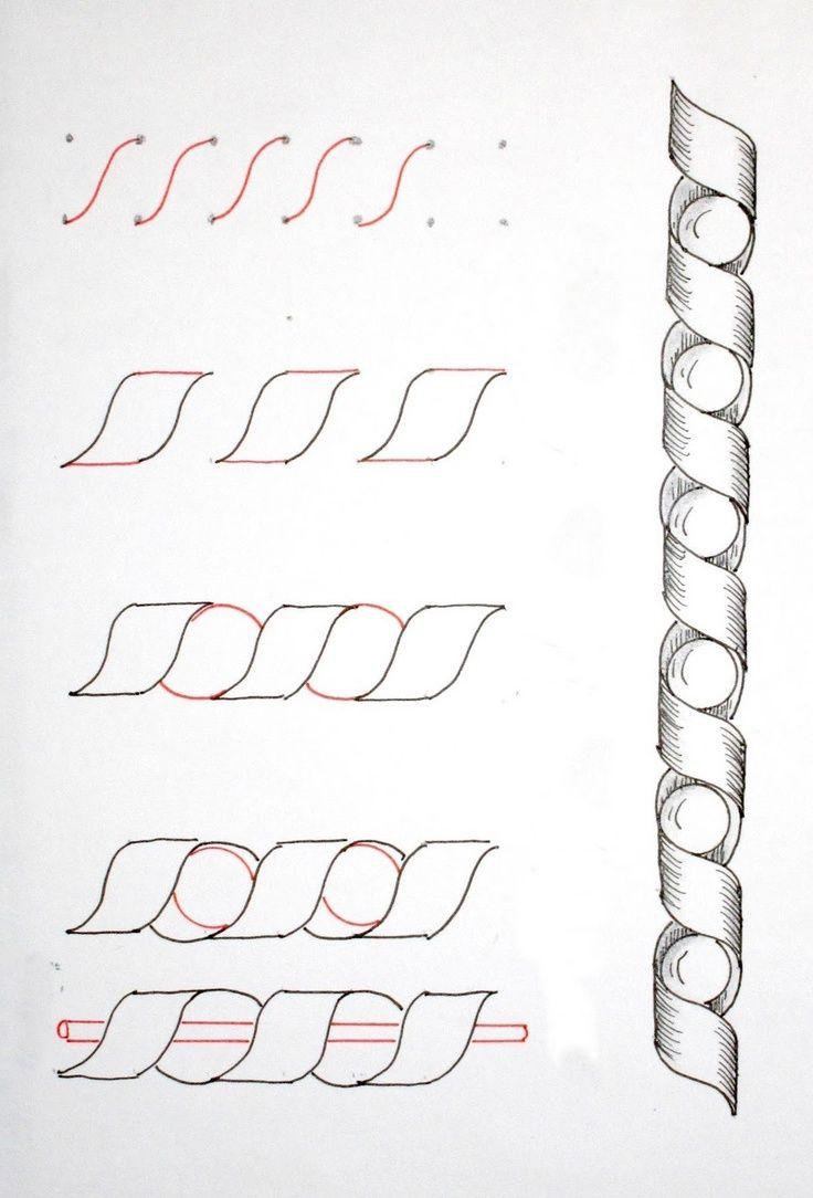dessin d'une bobine de tire-bouchon 1665   ... A fun to do design!