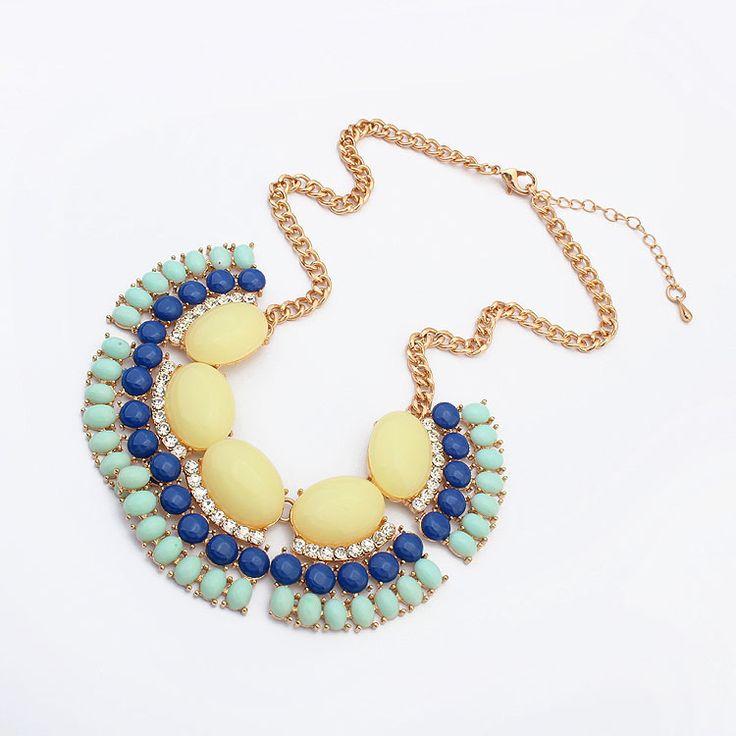 Collar de Declaración, aleación de zinc, con resina, con 5cm extender cadena, chapado en oro real, giro oval & facetas & con diamantes de imitación