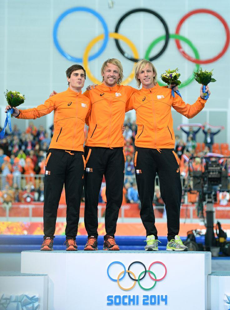 JO Sotchi - Février 2014 - Le 10 février, le podium du 500m de patinage de vitesse est entièrement aux couleurs des Pays-Bas.