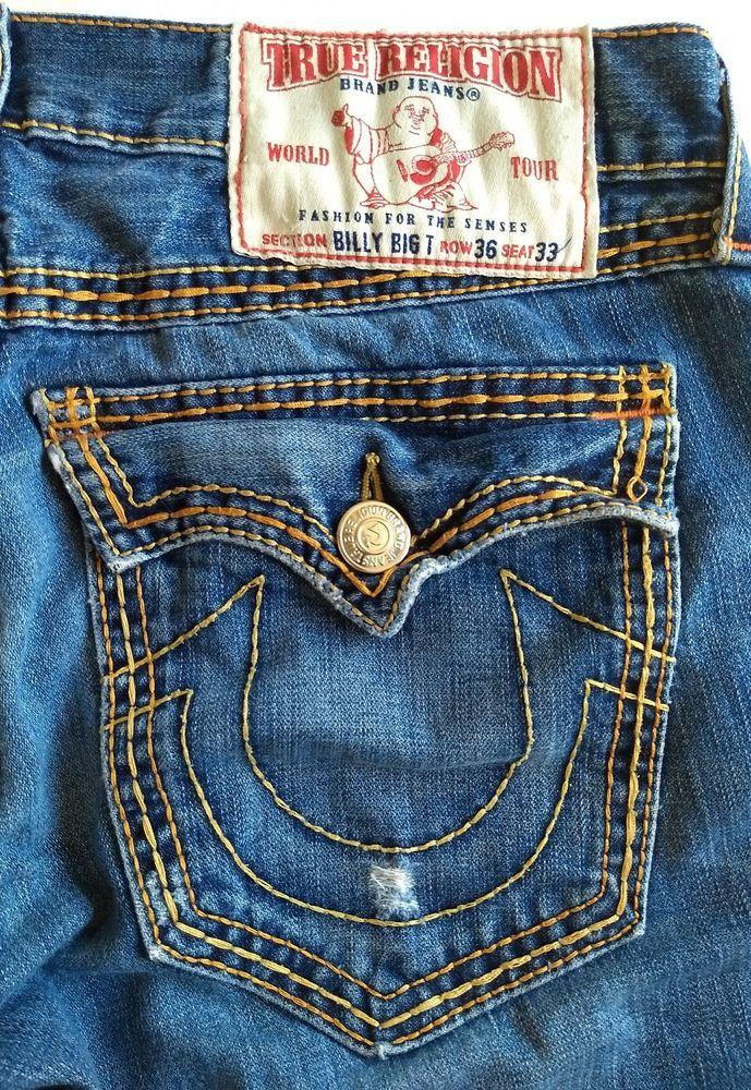 965e711dd Men True Religion Billy Big T Jeans   Thick Stitch   R 36 S 33   Fits Like  40X32  TrueReligion