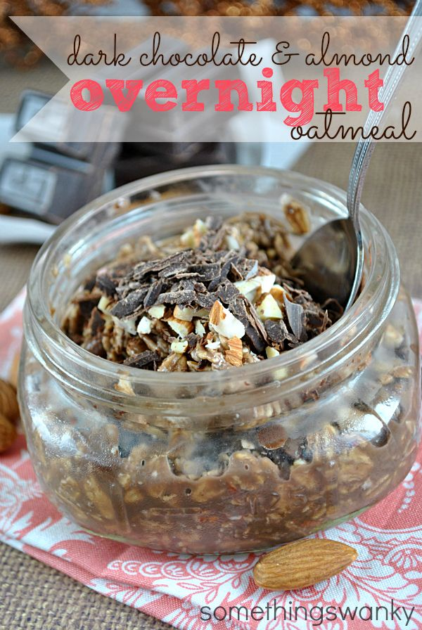 Dark Chocoate Overnight Oats aren't just NOT BAD for you-- they're GREAT for you! Plus, it tastes like dessert. For breakfast. It's a no brainer! #oatmeal #chocolate #recipe