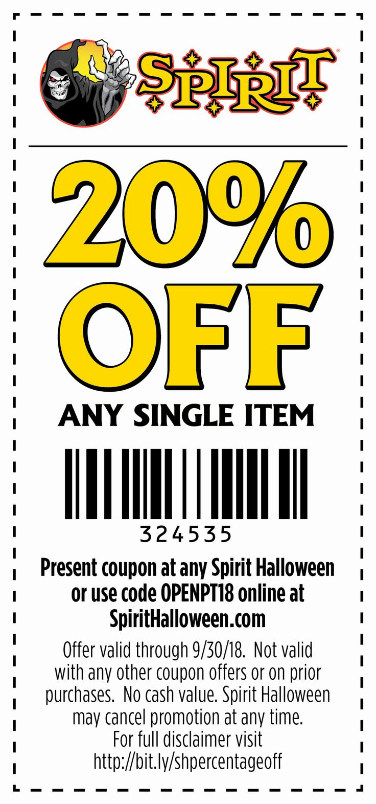 SpiritHalloween stores are now opening! Use this coupon