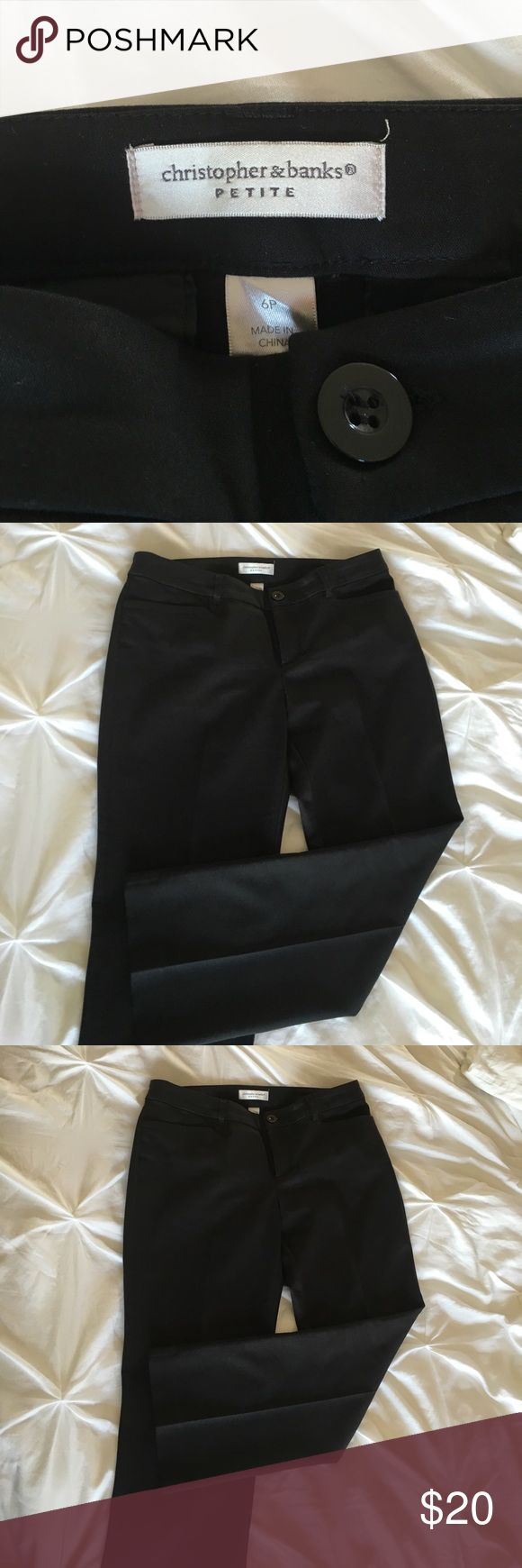 "Size 6 petite black dress pants Size 6P, black Christopher Banks dress pants. Waist 16"". Inseam 27"". Excellent condition. Smoke/pet free home. Christopher & Banks Pants"