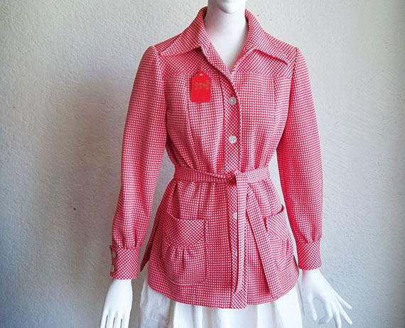 Vintage 70s Dagger Collar Tiny Check Polyester Knit Shirt Jacket M Joe Frank Houston Bullocks Wilshire M Medium  $20.00 offered by funquejunque of All Tomorrows Parties Vintage on etsy