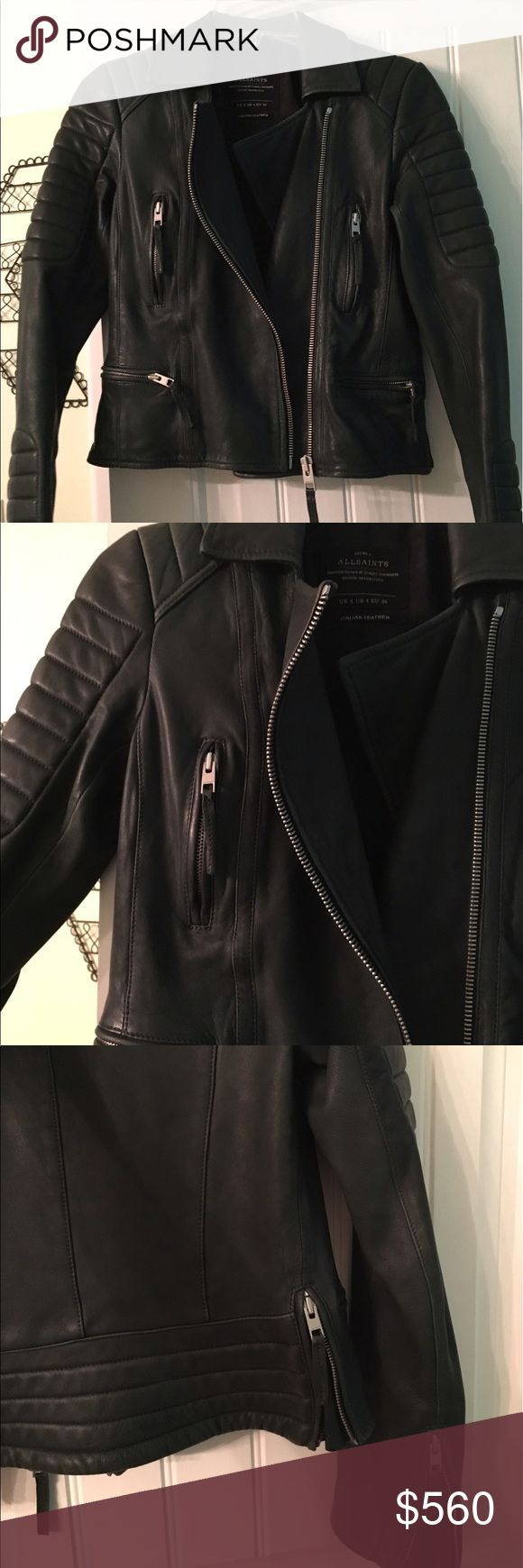All Saints Forest Green Leather Jacket Worn only a few