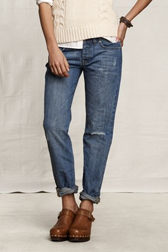I have, like, five pairs of these (got 'em on super-duper clearance), and I love them.   Yep. A 40-something woman wearing jeans with holes in 'em.   Oh, and no; I don't have a boyfriend.