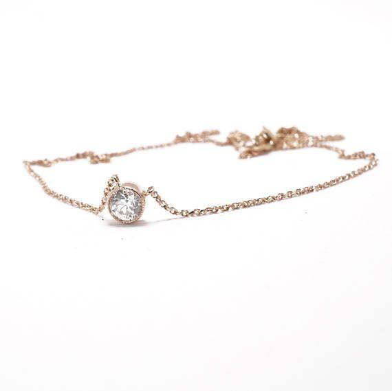 Vintage Diamond Necklace  Rose Gold  Repurposed Antique