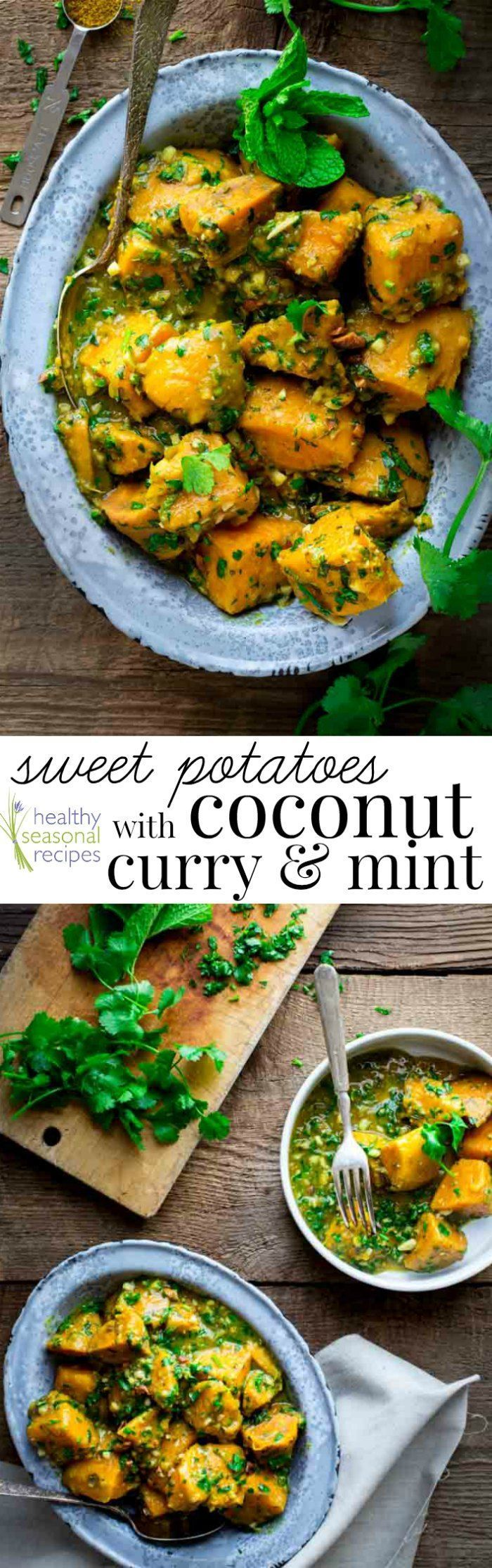Sweet Potatoes with Coconut Curry and Mint. On Healthy Seasonal Recipes by Katie Webster. Vegan, Paleo, Whole30 and Gluten-free.