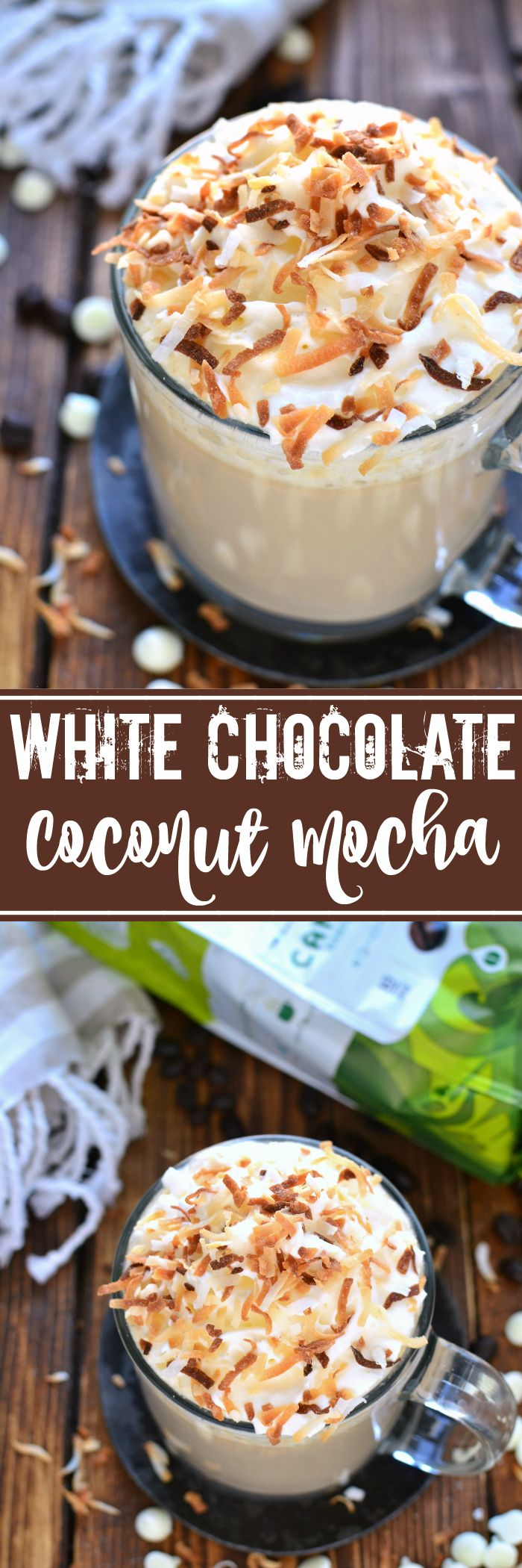 This Coconut White Chocolate Mocha is just like your favorite coffeehouse special! The perfect way to treat yourself....at home! @cameronscoffee #spon