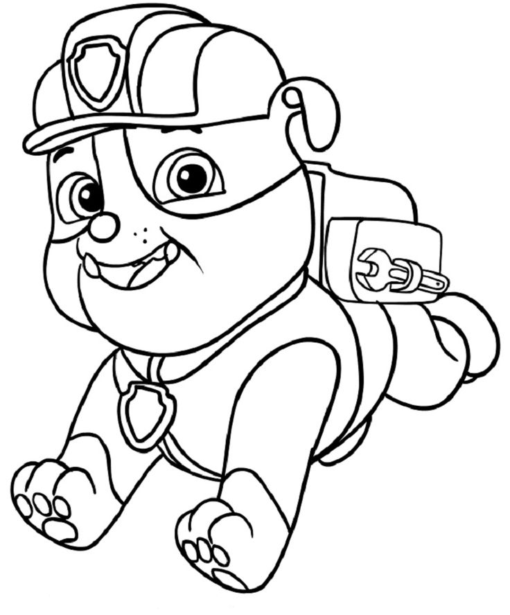 Paw Patrol Coloring Pages Rubble