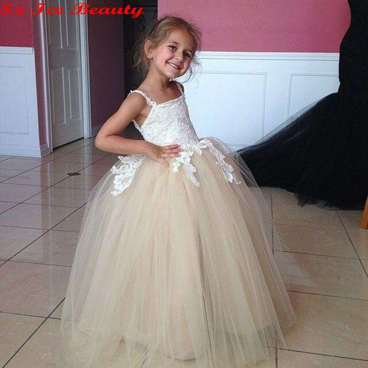Vintage Lace Applique Girls Ball Gown With Spaghetti Champagne Tulle Flower Girl Dresses For Wedding Party Dress 2016 Vestidos-in Flower Girl Dresses from Weddings & Events on Aliexpress.com | Alibaba Group