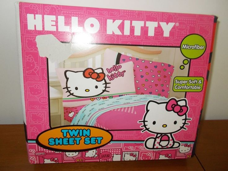 Hello Kitty 3 Pc Twin Sheet Set Sheets Pink and Blue Hearts and Logo #HelloKitty