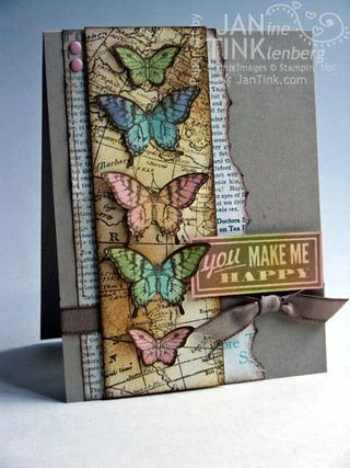 """Ingredients:  Stamps - Papillon Potpourri, Hello Lovely, World Map - paper Afternoon Picnic DSP; Other - Elegant Butterfly Punch, Bitty Butterfly Punch, Candy Dots, Soft Suede 3/8"""" taffeta ribbon,"""