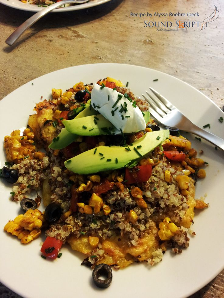 ... , grilled corn, red pepper, olives, avocado, sour cream and chives
