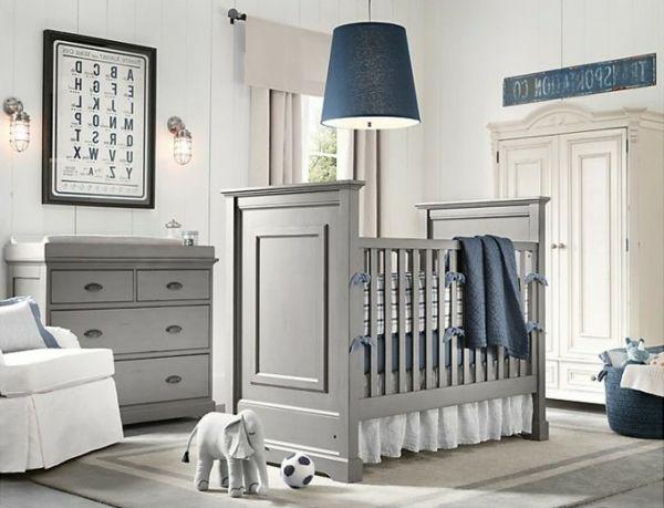 graue und blaue farbe für eine schlichte und moderne babyzimmer