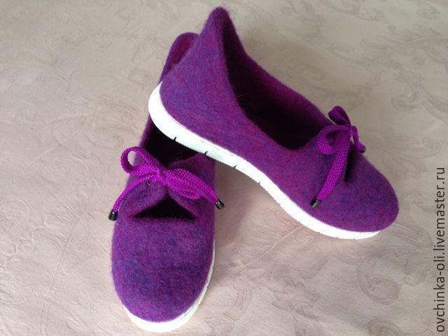 Купить Туфли валяные - фиолетовый, туфли ручной работы, туфли женские, туфельки…