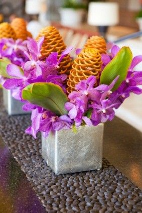 hawaiian themed wedding with a lot of hawaiian flowers like orchids ...