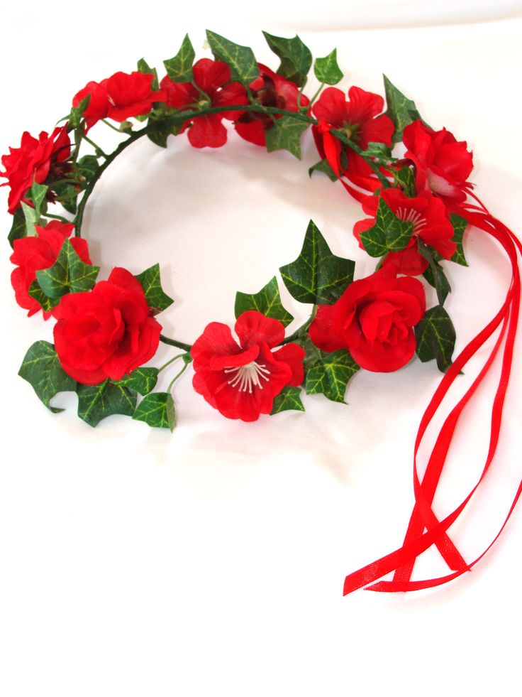 Red flower garland for hair