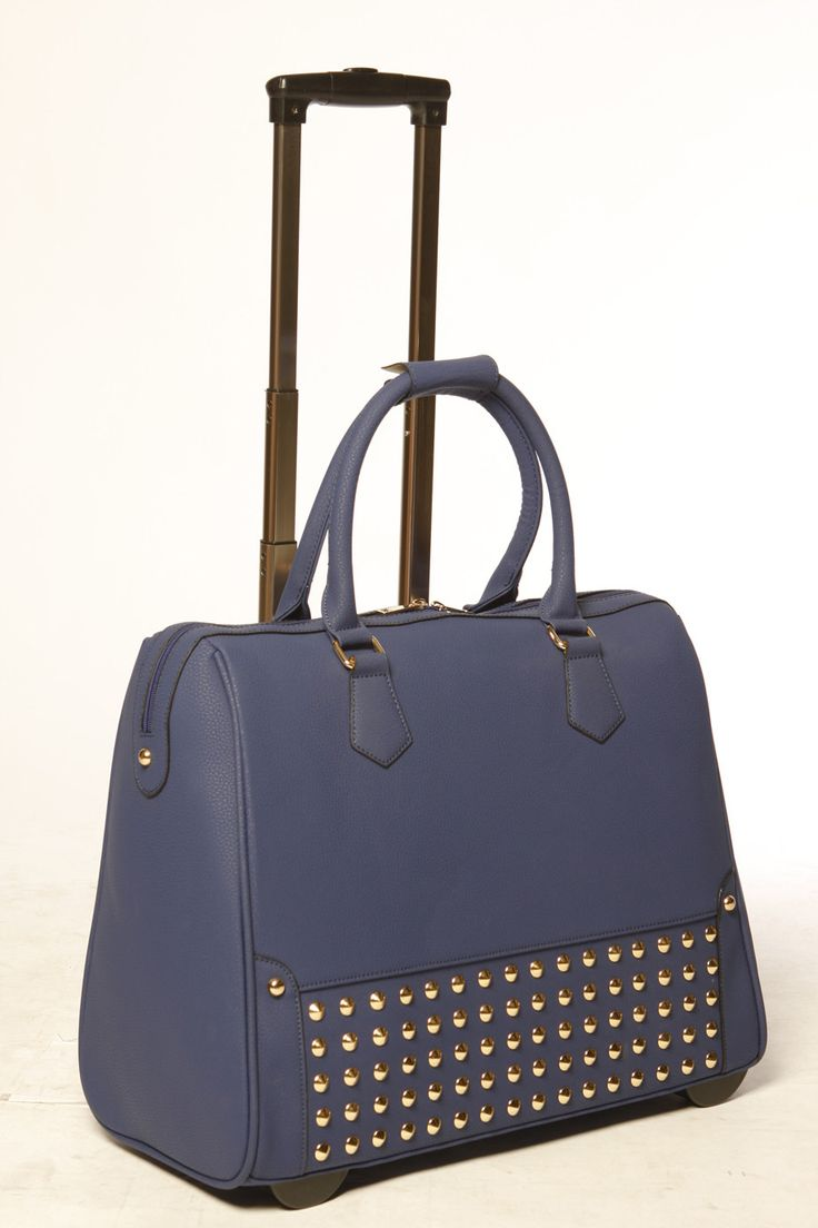 """""""THE ROYAL"""" Blue Studded Rolling iPad, Tablet or Laptop Tote Carryall Bag by ES 