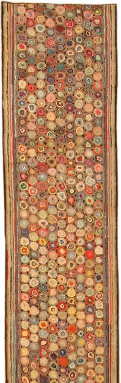 American Hooked Rug - we pin Indian rugs, Persian carpets, Beni Ourain rugs ... but what about the hooked rugs made from kits like the kind my mom got in the 1970s? Isn't that a reflection of a culture? Do we love to pin those? If not, why not? This one is beautiful.Vintage Rugs Antiques, Antiques American, Prayer Rugs, Rugs Hooks, Antiques Fabrics, Carpets, Hooks Rugs, American Hooks, Hooks Pattern