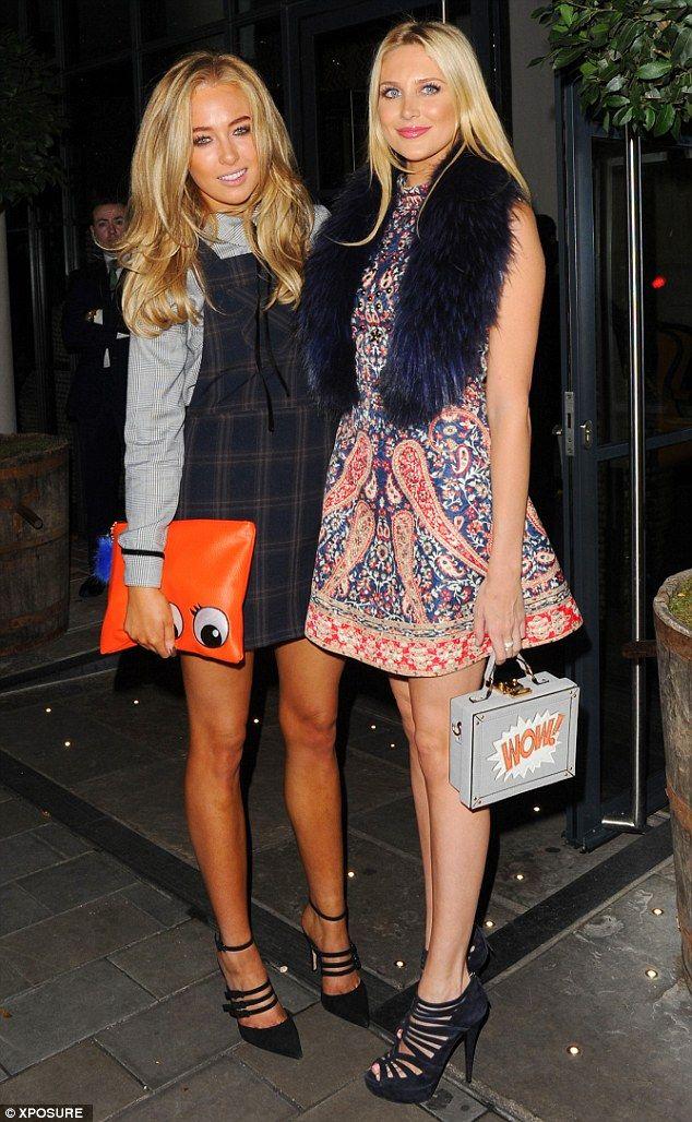 BFFs: Nicola posed with co-star Stephanie Pratt, looking stylish in a printed mini-dress...